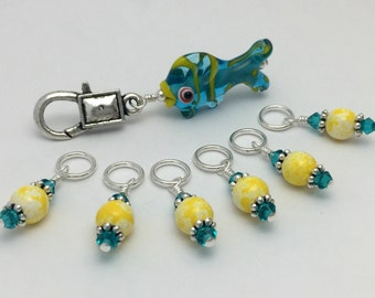 Tropical Fish Stitch Marker Keeper & Yellow Stitch Markers | Snag Free | Gift for Knitters