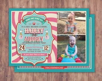 First Birthday- circus ticket-carnival ticket invitation - vintage circus, ticket invitation, carnival, circus birthday invitation, twins