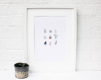 Small Plants, Tiny Potted Plants, Small Plants, Small Plant Painting, Small Painting, Scandanavian Design, Minimalist Design