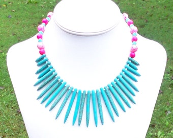 Chunky Tribal Necklace Tribal Statement Necklace Turquoise Spike Necklace Tropical Necklace Chunky Ethnic Necklace Aqua Hot Pink Necklace