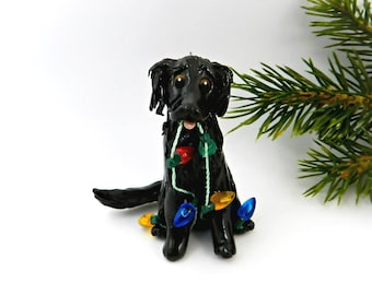 Flat Coated Retriever Black Porcelain Christmas Ornament Figurine Lights