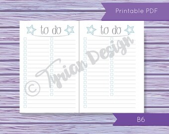 B6 Size To Do List for Midori Traveler's Notebook, B6 Size Printable for Letter Size or A4 paper