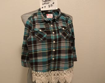 Flannel shirt upcycled with lace trim