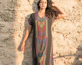 boho maxi dress, royal printed kaftan/ galabia/ sleeve long dress