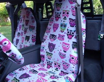 A Set of Strawberry Pink Owls Print, Seat Covers and the  Steering Wheel Cover  Custom Made.