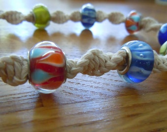 Macramé Necklace with Colourful Glass Beads