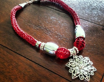 Red Handwoven Necklace with Silver-color accents - Free Shipping U.S. Only