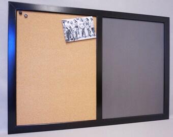 "Large Framed Dry Erase Board / Bulletin Board Command Center - Custom ""Chalkboard"" Dry Erase w/ Cork Board - Black Memo Board Wall Organizer"