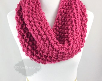 Chunky Knit Scarf, Seed Stitch Cowl, Chunky Neck Warmer, Short Infinity Scarf, Knit Collar Scarf