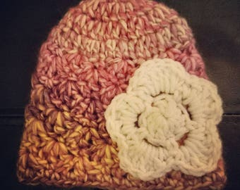 Newborn Baby Girl Crocheted Beanie Hat with Flower