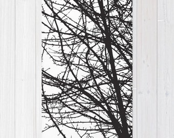 Contemporary Black and White Tree Branches Area Rug - Modern Nature Area Rug - Bedroom Rug - Living Room Rug
