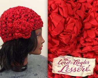 Vintage 1940s Red Ribbon Turban Hat