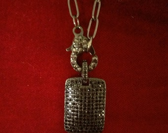 Pave dog tag necklace