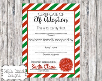 ELF ADOPTION CERTIFICATE, Christmas Shelf Elf, Adopt an Elf letter, Holiday printable, Holiday Tradition, Christmas Tradition
