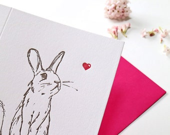 Letterpress Valentines Card, Valentines day, Rabbit Letterpress Greetings Card, Bunny Lovers Card