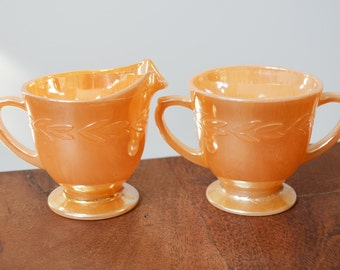 Vintage Fire King Peach Lustre Cream and Sugar Set - Laurel Leaves pattern