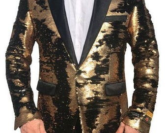 ALBERTO NARDONI Mens Fashionable Tux Jacket Gold Black Sequin Paisley SEQUIN-1