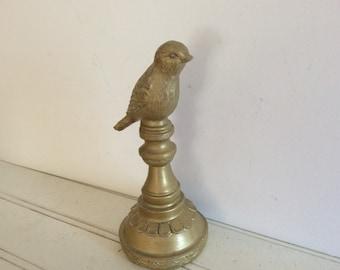 Garden Bird Finial - Painted Gold Distressed - Shabby Cottage Chic - Pedestal - French Garden Totem - Garden Statue  - Nursery - Bird Nest
