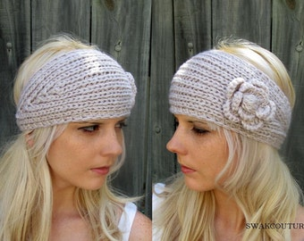 Knit Ear warmer Head Wrap Chunky Flower Headband Button Adjustable Head Wrap Stocking Stuffer Natural or CHOOSE Your color