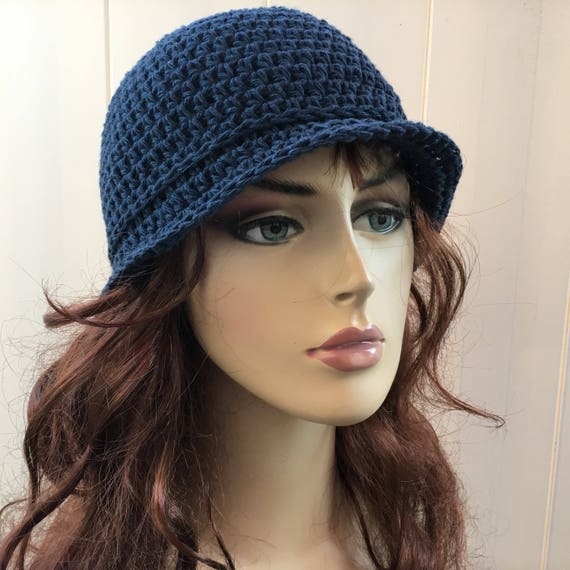 Crochet Cotton Cloche Hat Summer Cloche Hat Pink Denim Blue