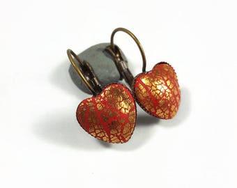 Heart small earrings, red and gold earrings,delicate small earrings girls, love gift for teens,  gift for Mom, Bat Mitzva  gift