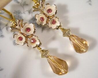 Upcycled Vintage Earrings, Bridesmaid Gift, Gold, Pink Rhinestones, Glass Teardrop, Pierced, Reclaimed, Under 30, Coupon Code, OOAK - Kate