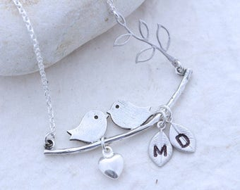 Sterling silver Love Bird necklace, Personalized bridal gift jewelry, Anniversary Gift, Sterling Love birds option. Bridal shower gift