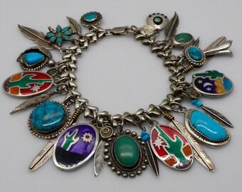 Vintage 27 Southwestern Charms and Link Bracelet