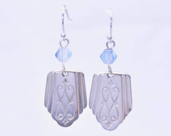 Antique Silverware Earrings with Blue Beads Vintage Silver Plated Spoons