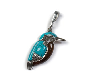 Henryka Amber, Silver & Turquoise Small Kingfisher Bird Pendant with Silver Chain