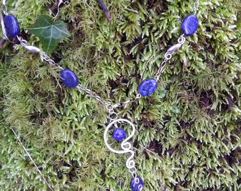 Sterling silver and lapiz lazuli necklace
