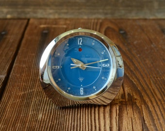 Vintage alarm clock Diamond 1980s steel made in Shanghai China ,blue shiny,Working condition!