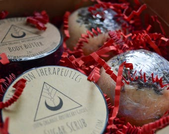 Relaxation Gift Set - Two Large Bath Bombs - 2 oz Sugar Scrub - 2 oz Whipped Body Butter - 100% Organic - Perfect for Valentines Day!