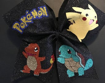 Pokemon cheer bow - cheer bow - pokemon - pikachu - charmander - squirtle - pikachu cheer bow - charmander cheer bow - squirtle cheer bow
