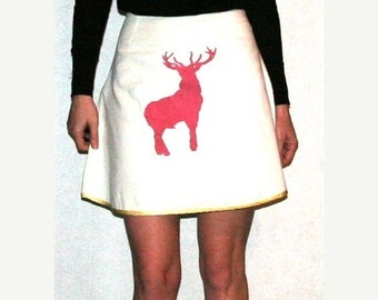 Moving Sale Sweetest White Cotton Skirt with Pale Yellow Ribbon Trim & Pink Screen Prints- Size S