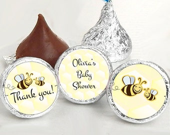 Bumble Bee Baby Shower Favors - Bumble Bee Party Favors - Bumble Bee Birthday Favors - Hershey® Kiss Stickers - Kiss Seals - 108 Stickers