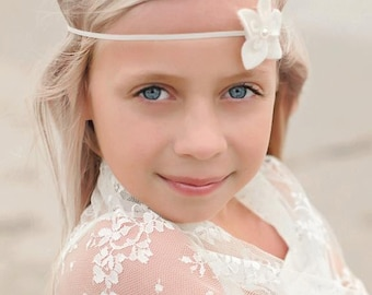 Marshmallow Creme - Ivory Pearl Flower Headband - Girls Newborns Baby Infant Adults - Photo Prop