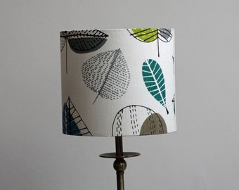 Teal blue, grey, citrus green leaves print drum lampshade - side or ceiling lamp - Springtime colours, Spring home decor