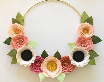 FELT FLOWER WREATH // Pink Wreath // Modern Wreath // Floral Art // Gold Hoop Wreath // Floral Wreath // Roses + Poppies + Anemones