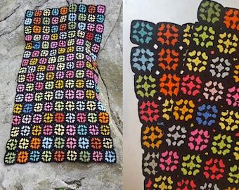 vintage Black & Neon Squares Colorful Handmade Crochet Knit Afghan Blanket