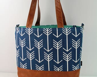 Extra Large Lulu Tote with Blue Arrows and PU Leather -READY to SHIP  Beach Dance Travel Bag 7 pockets