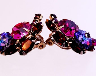 Vintage Rhinestone Clip On Earrings, Floral Earclimbers, Costume Jewelry, Women's Jewelry, Bridal Earrings, Gifts, Mother's Day Gift