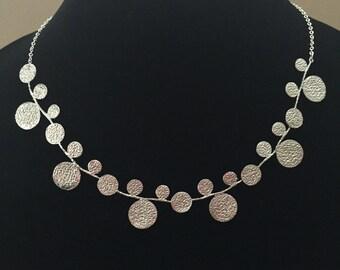 Leaf Statement Necklace, Silver Statement Necklace, Statement Necklace, Bridal Statement Necklace, Statement Choker, Bib Necklace, Unique