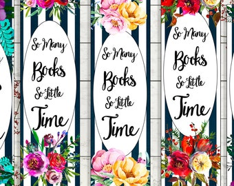 printable bookmarks download book quote booklover gift modern watercolour floral diy gift stocking stuffer for reader black white flowers