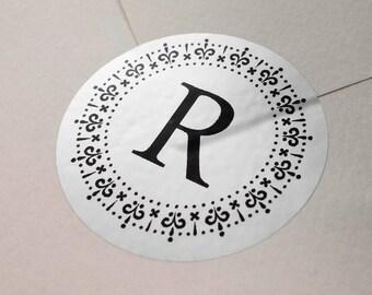 "Silver Foil ""Initial Letter"" Labels Stickers Seals #R4038"