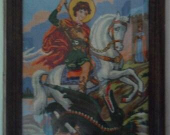 Unique Handmade Gobelin Tapestry Saint George dragon  wooden frame glass