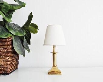 Elegant Small Vintage Brass Column Pillar Nightlight // Federal Style Lamp