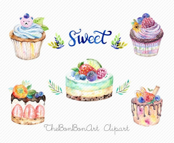 watercolor clipart watercolor cake Bakery Clipart cupcake