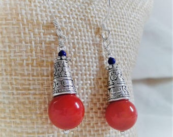 Ethnic red coral earrings