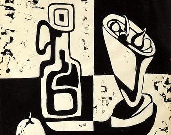 Still Life by Steve Farrell, Linocut, Mid Century Modern